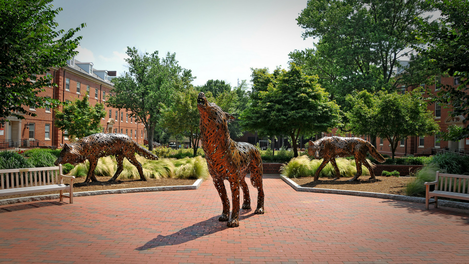Outdoor plaza with three metal wolf statues